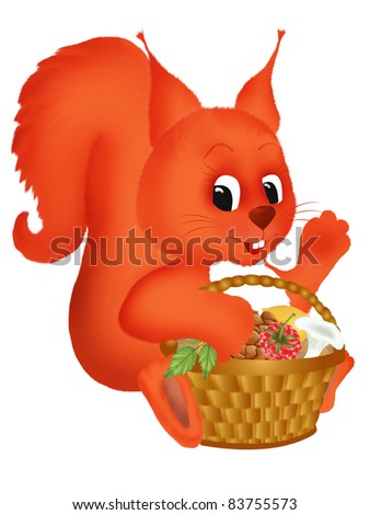 Illustration of a cute smiling squirrel