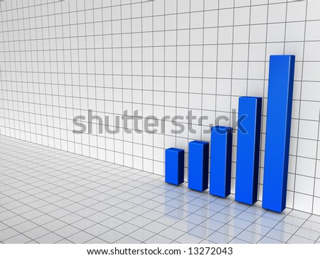 Illustration of a 3D bar chart on a black and white grid