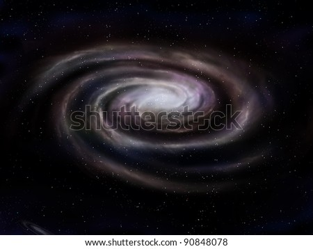 Illustration of a deep space spiral galaxy