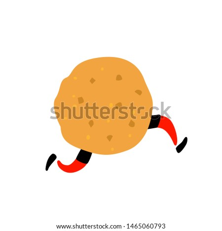 Illustration of a delicious cookie. Character with legs. Icon for site on white background. Sign, logo for the store. Delivery of fresh bakery and confectionery. Flat style.
