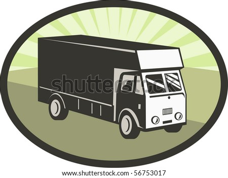 illustration of a delivery van viewed from a high angle set inside an ellipse - stock photo