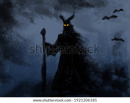 illustration of a demonic creature with a staff in hand and piercing eyes on its face. Frightening monster, dramatic abstract painting Foto stock ©