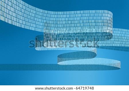 Illustration of a digital data stream with a blue background