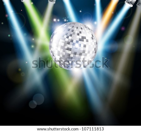 Illustration of a disco mirror ball or glitter ball with disco lights