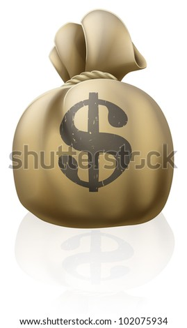 Illustration of a dollar money sack with dollar sign written on it