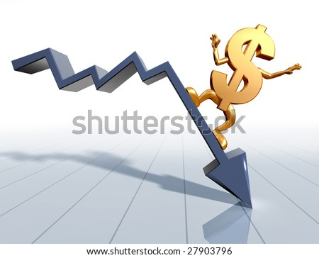 Illustration of a dollar symbol surfing a downward chart