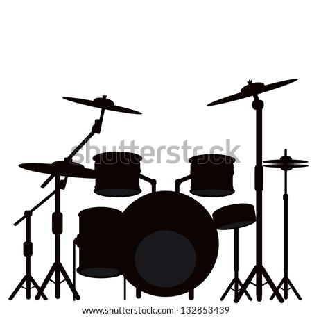 illustration of a drum kit - stock photo