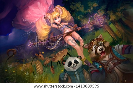 illustration of a fairy in a fairy forest