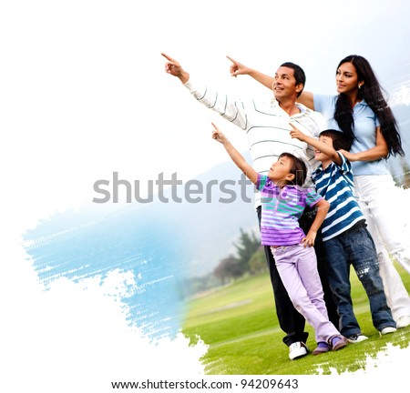Illustration of a family outdoors in a green field pointing