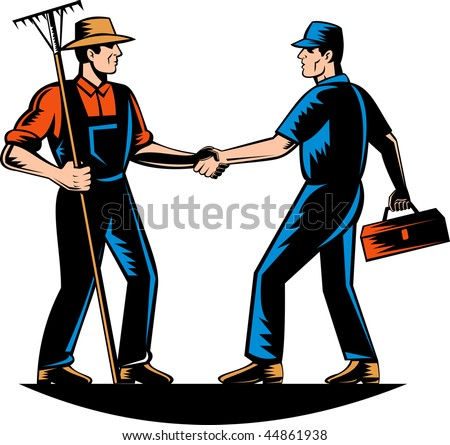 illustration of a farmer and a tradesman,repairman,plumber or handyman shaking hands