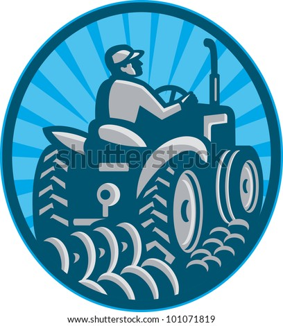 Illustration of a farmer plowing with vintage tractor viewed from the rear set inside oval done in retro style.