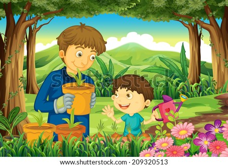 Illustration of a father and a son at the forest watering the plants