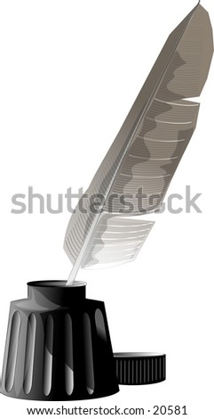 Illustration of a feather quill pen and bottle of ink.
