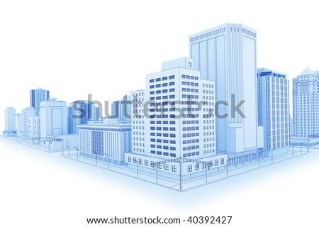 Illustration of a fictional city in a 'blueprint' outline style