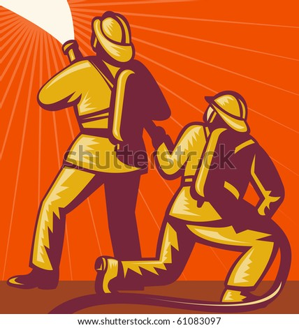 illustration of a Firefighter or fireman aiming a fire hose  done in retro style