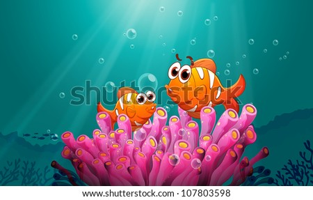 illustration of a fish and coral in water