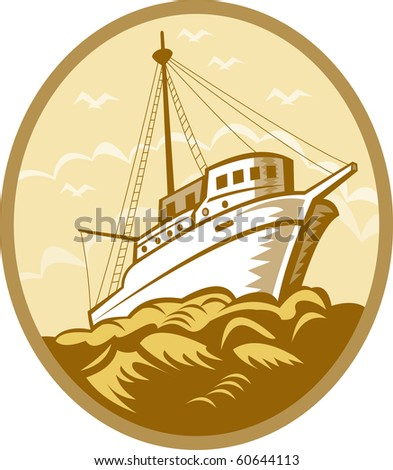 illustration of a Fishing boat viewed from low angle set inside an oval done in retro style.