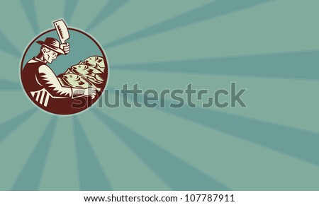 Illustration of a fishmonger butcher with meat cleaver knife chopping fish viewed from side set inside circle done in retro woodcut style.