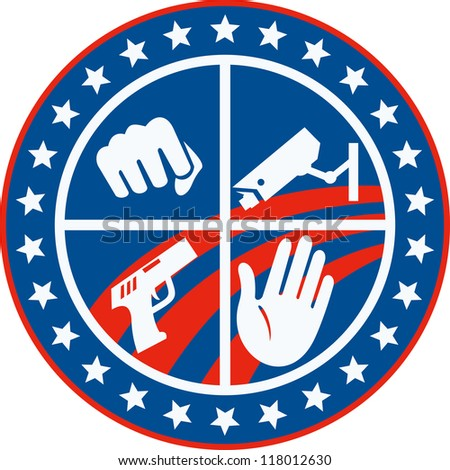 Illustration of a fist punching cctv surveillance security camera pistol gun and hand set inside circle with stars and stripes done in retro style.