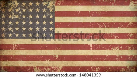 Illustration of a flat 'n aged US 48 star flag of the period 1912-1959. This design was used by the US in both World Wars and the Korean war.