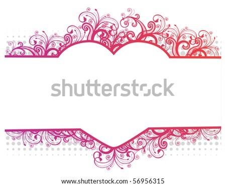 Illustration of a floral pink border with heart - stock photoHeart Border Horizontal