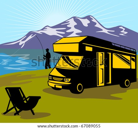 illustration of a Fly fisherman fishing with fly rod and reel with lake and mountains and sunburst in background and folding chair and camper van in the foreground done in retro style