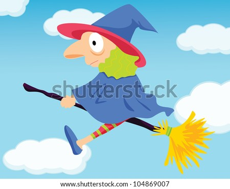 Illustration of a flying witch -