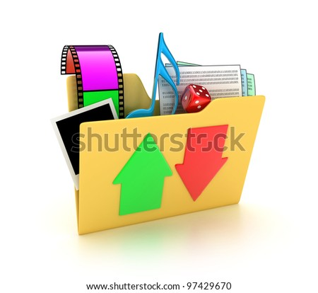 Illustration of a folder with different files on a white background