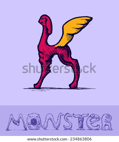 Illustration of  a font made of monsters stylized as engraving. Letter k Stock fotó ©
