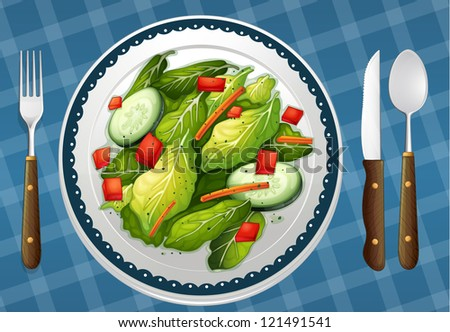 illustration of a food and a dish on a blue color background