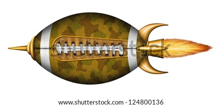 Illustration of a football as a spaceship.
