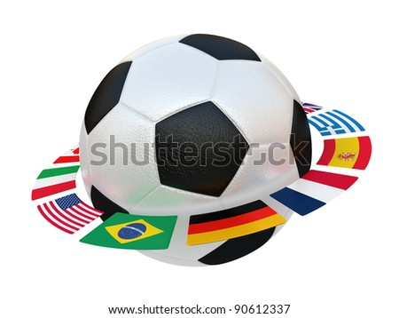Illustration of a football with flags of the different countries of the world