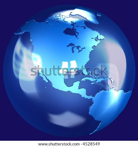 Illustration of a fragile Blue Glass Earth Globe shining in space, a 3D render.