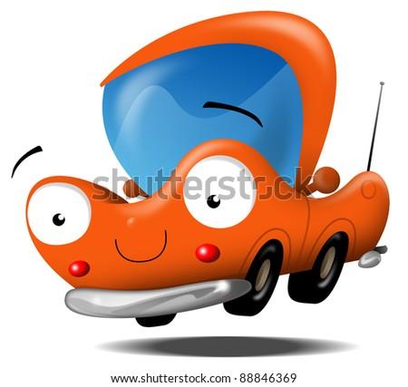 illustration of a fun orange cartoon car 88846369 shutterstock. Black Bedroom Furniture Sets. Home Design Ideas