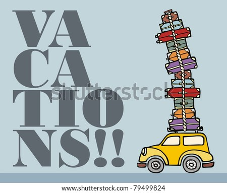 Illustration of a funny car with a lot of luggage on the roof. - stock photo