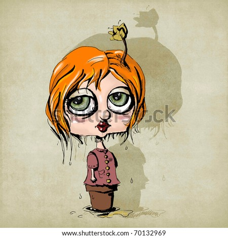illustration of a funny girl with a flower on her head