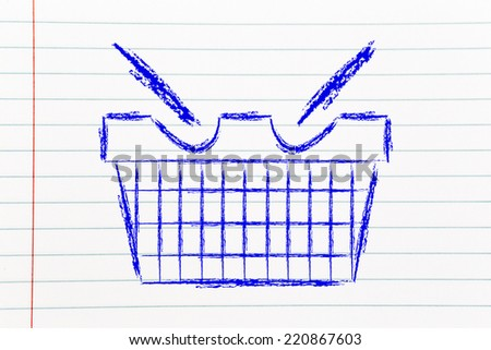 illustration of a funny shpping cart: marketing, retail industry and promotions