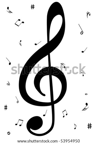 Illustration of a G clef with music notes