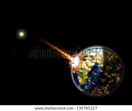 illustration of a giant asteroid impacted on Earth Africa creating massive explosion, fire and lava burning around the world. Black background. Elements of this image furnished by NASA
