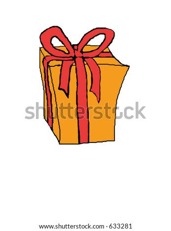 illustration of a gift wrapped box with ribbon and bow. - stock photo