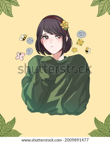 Illustration of a girl being soothed by a fantasy world Foto stock ©