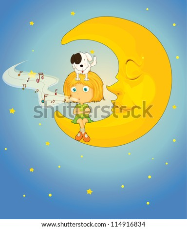 illustration of a girl, dog and moon in night sky
