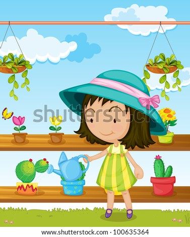 Illustration of a girl gardening - EPS VECTOR format also available in my portfolio. - stock photo