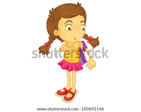 Illustration of a girl getting dressed - EPS VECTOR format also available in my portfolio.