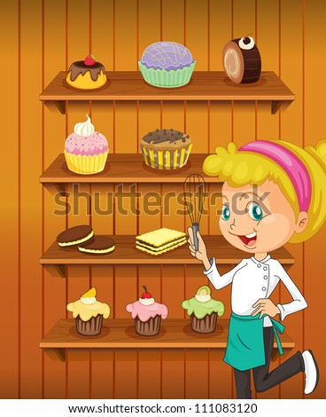 illustration of a girl in the kitchen as a chef