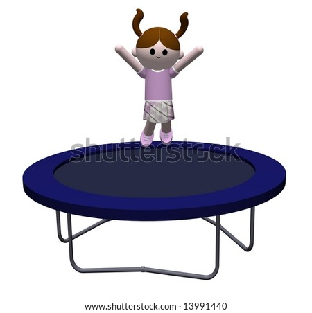 illustration of a Girl jumping on a trampoline