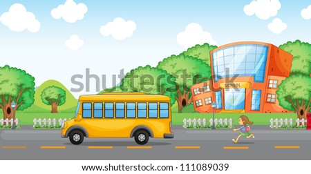 illustration of a girl running behind school bus infront of school