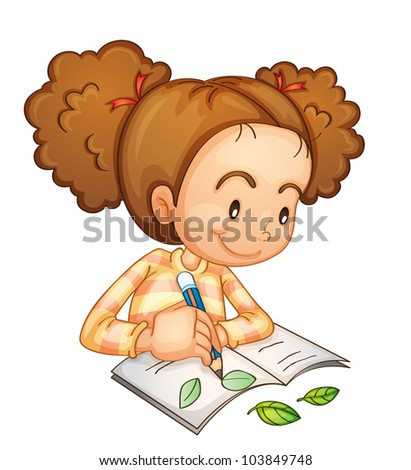 illustration of a girl studying