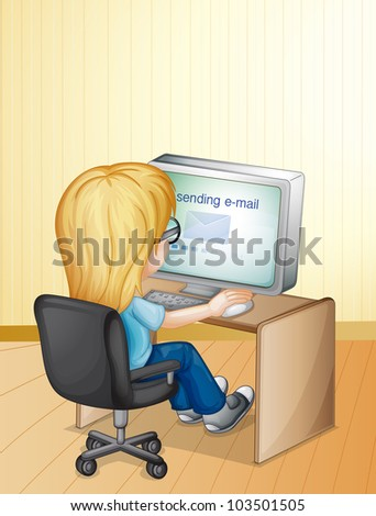 Illustration of a girl using computer - EPS VECTOR format also available in my portfolio. - stock photo