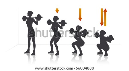 Illustration of a girl who exercise squat with weights.